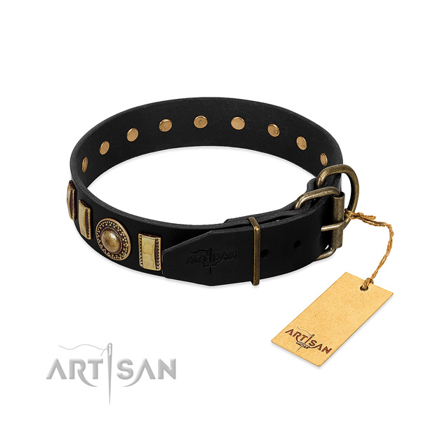Gentle to touch leather dog collar with studs