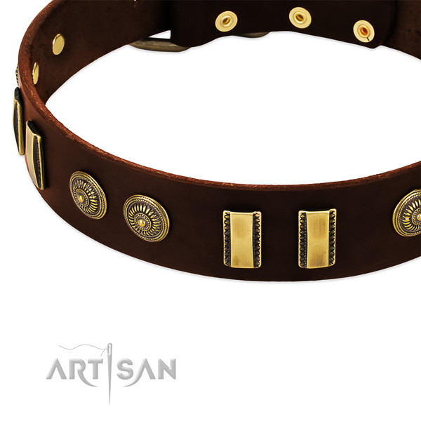Durable decorations on full grain leather dog collar for your four-legged friend