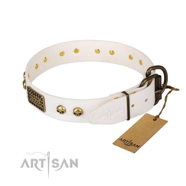 Adjustable natural leather dog collar for walking your canine
