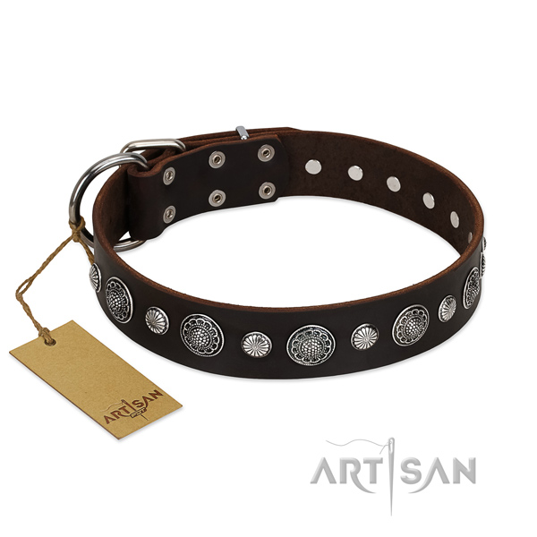Durable full grain natural leather dog collar with significant decorations