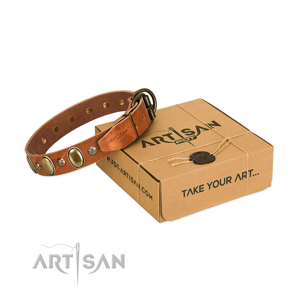 Stylish full grain genuine leather dog collar with strong D-ring