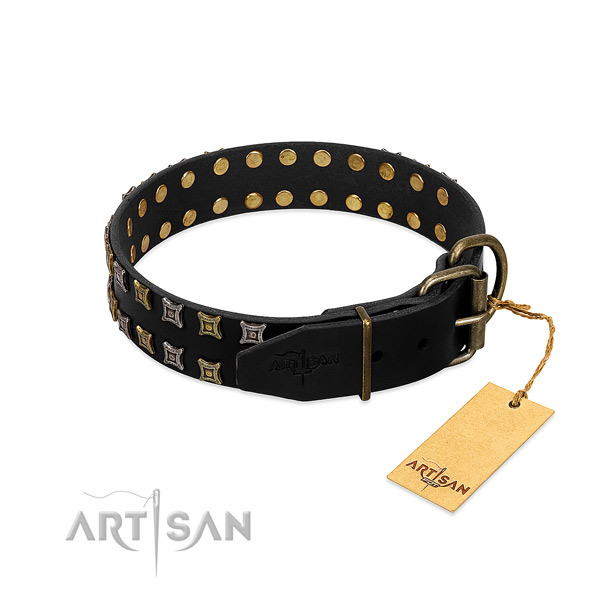 Top rate full grain genuine leather dog collar crafted for your dog