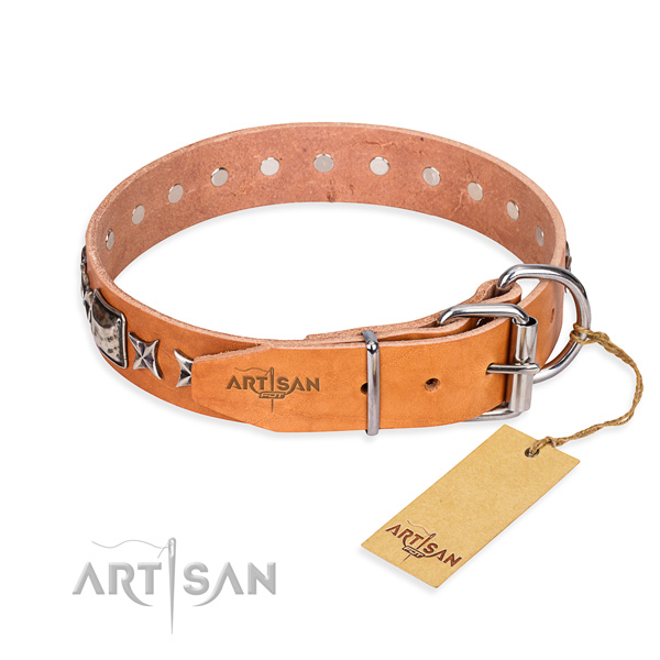 Top notch embellished dog collar of genuine leather