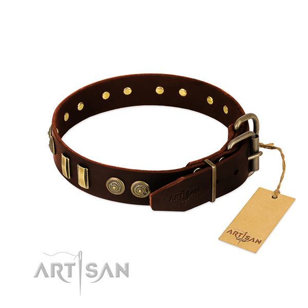 Corrosion resistant fittings on genuine leather dog collar for your pet