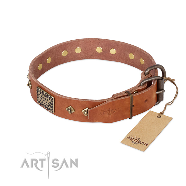 Full grain genuine leather dog collar with corrosion resistant traditional buckle and decorations