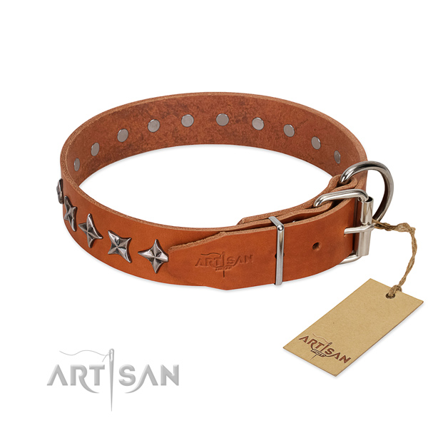 Comfortable wearing adorned dog collar of fine quality natural leather