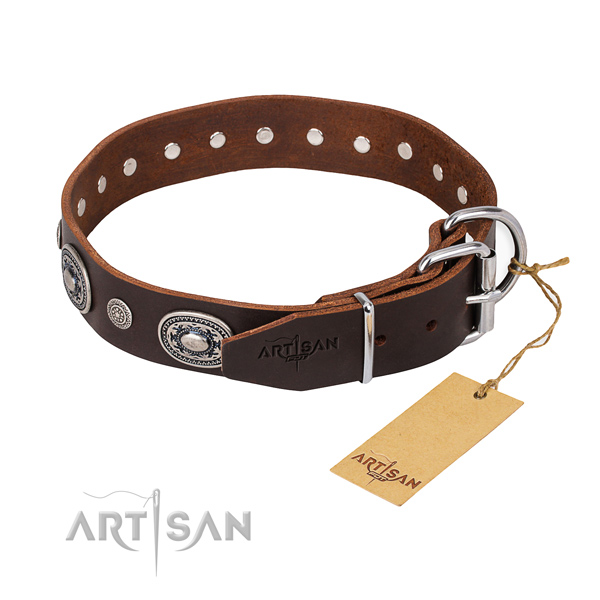 Gentle to touch leather dog collar made for easy wearing