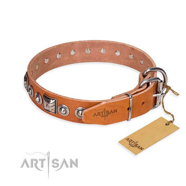 Leather dog collar made of soft material with corrosion proof embellishments