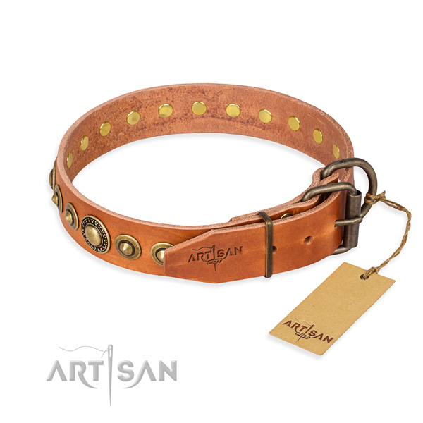 Durable genuine leather dog collar crafted for basic training