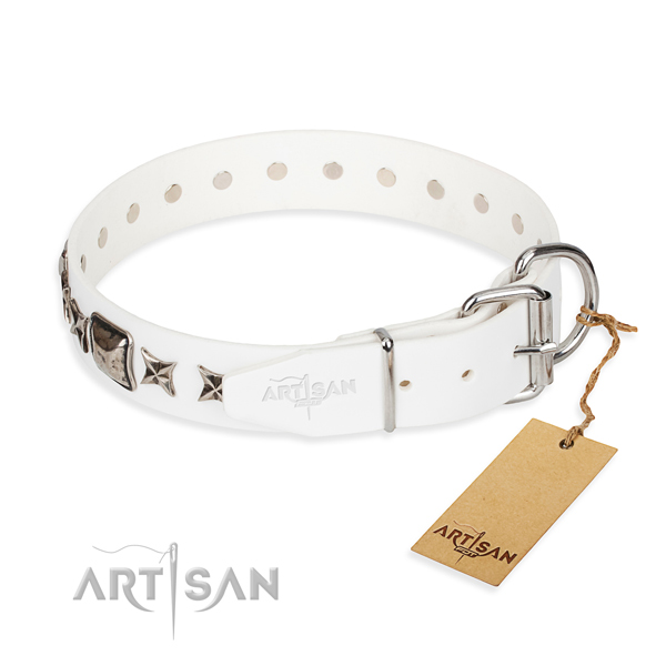 Top notch decorated dog collar of full grain genuine leather