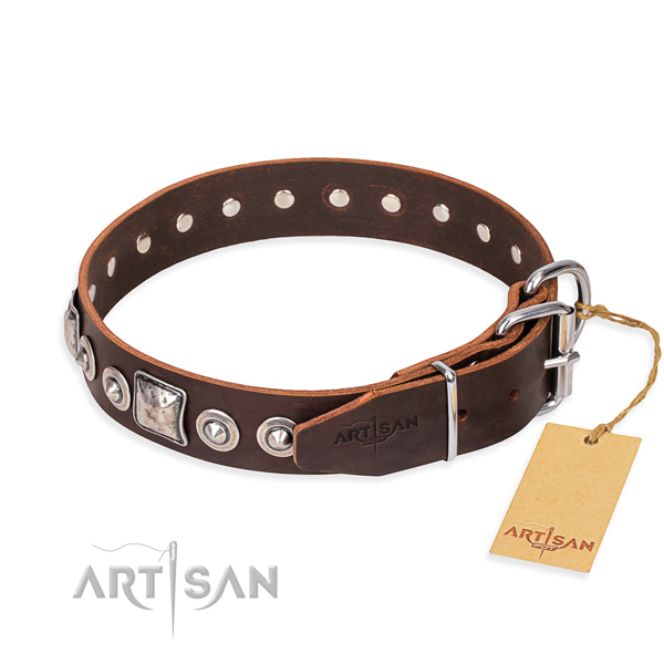 Full grain natural leather dog collar made of high quality material with durable embellishments