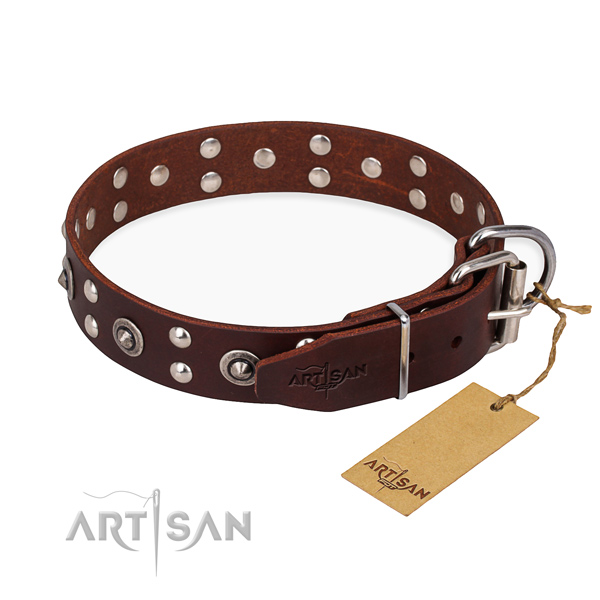 Reliable traditional buckle on full grain leather collar for your beautiful four-legged friend