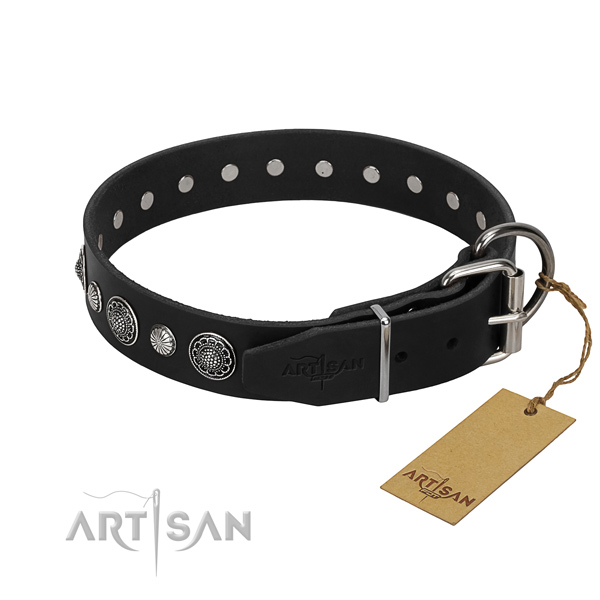 Top notch full grain genuine leather dog collar with unusual adornments