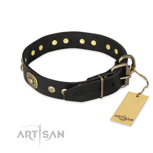 Strong hardware on full grain genuine leather collar for walking your pet