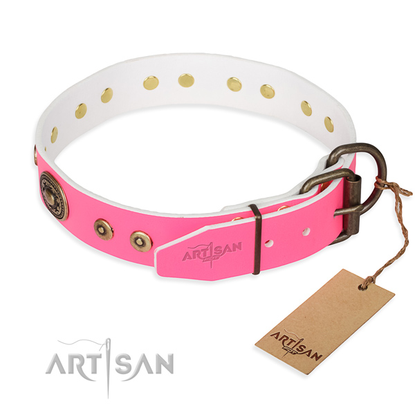 Natural genuine leather dog collar made of soft to touch material with durable adornments