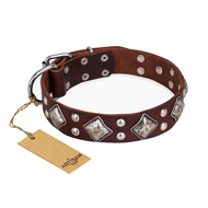 """King of Grace"" FDT Artisan Stylish Leather Doberman Collar with Old Silver-Like Plated Decorations"