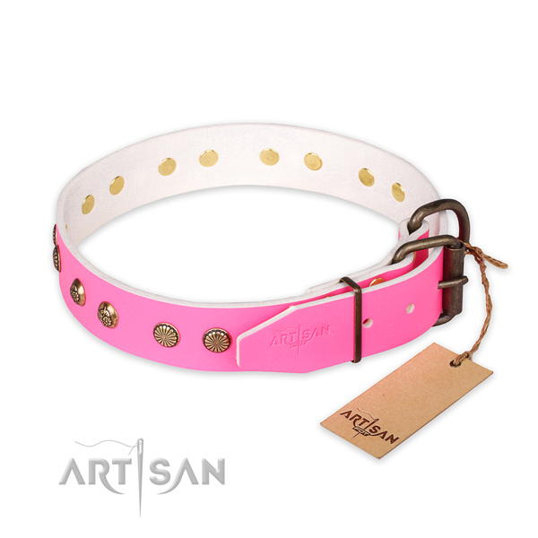 Rust-proof hardware on full grain genuine leather collar for your lovely four-legged friend