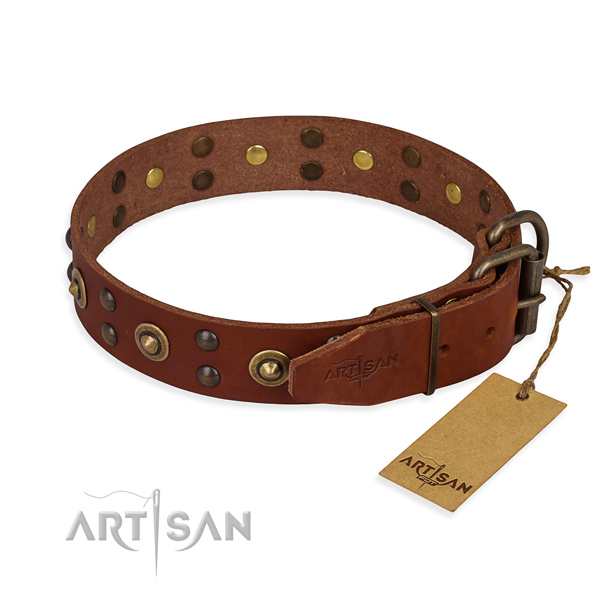 Durable hardware on full grain genuine leather collar for your lovely doggie