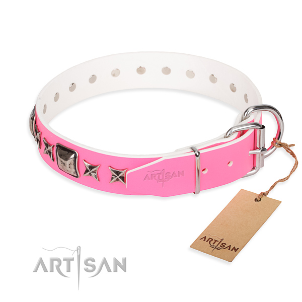 Best quality decorated dog collar of full grain natural leather