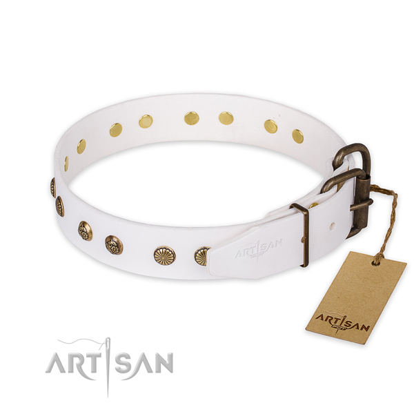 Rust resistant fittings on genuine leather collar for your handsome doggie