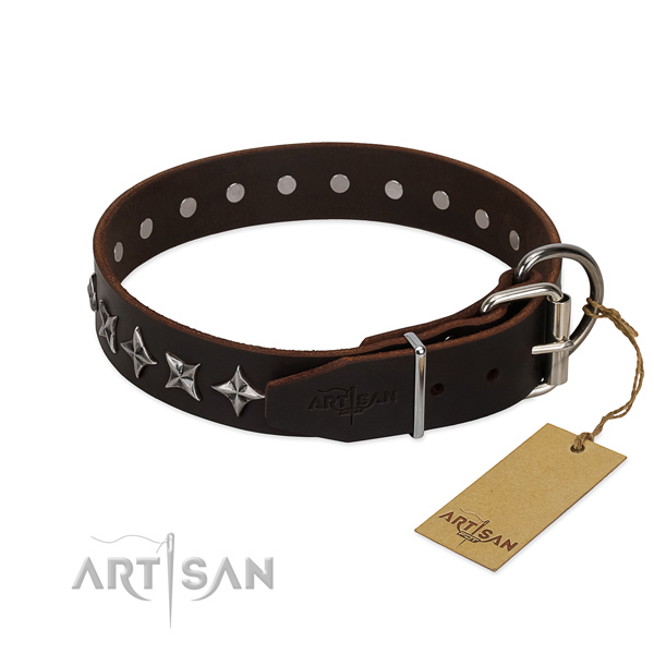 Everyday use embellished dog collar of high quality genuine leather