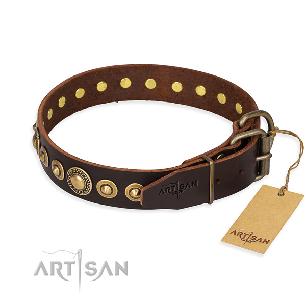 Soft to touch leather dog collar handcrafted for basic training