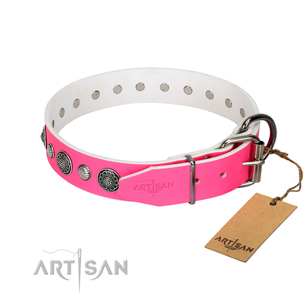 Soft to touch full grain genuine leather dog collar with rust-proof fittings