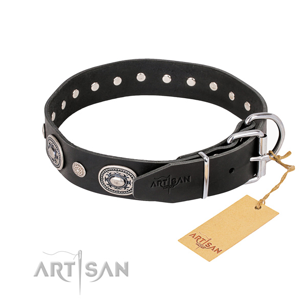 Reliable leather dog collar created for easy wearing
