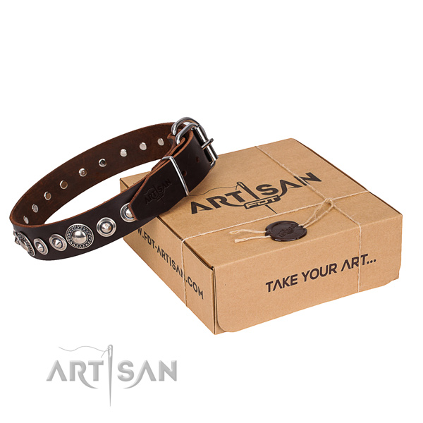 Natural genuine leather dog collar made of best quality material with strong D-ring