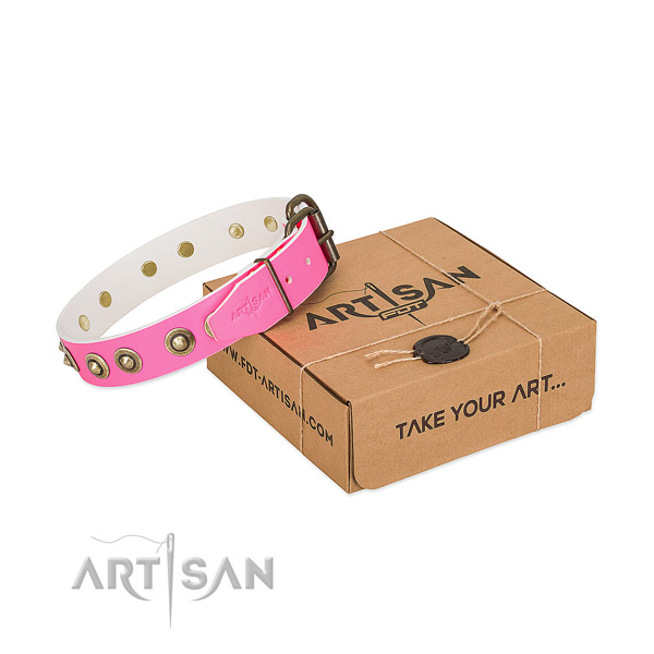 Adorned full grain natural leather collar for your impressive canine