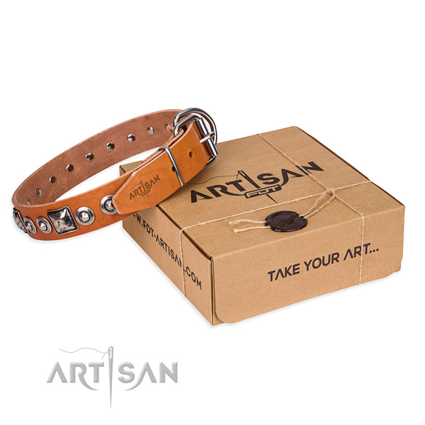 Full grain natural leather dog collar made of top notch material with corrosion proof fittings