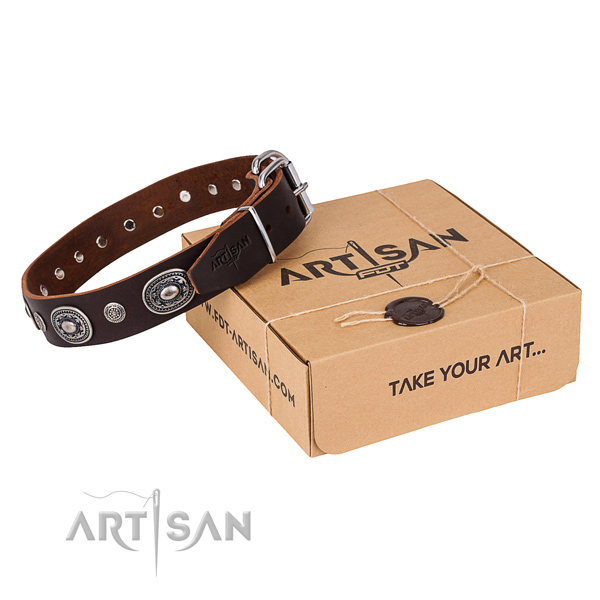 Soft to touch full grain leather dog collar created for daily use