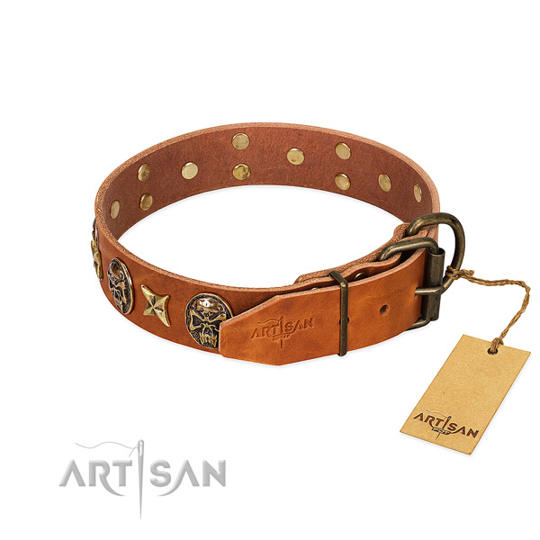 Full grain natural leather dog collar with rust resistant hardware and decorations
