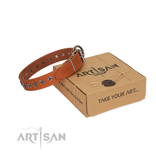 Comfy wearing dog collar of best quality full grain natural leather with decorations