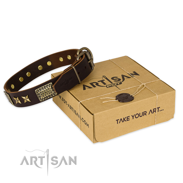 Reliable traditional buckle on full grain natural leather collar for your handsome doggie