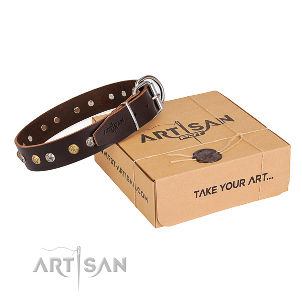 Top notch full grain genuine leather dog collar made for comfortable wearing