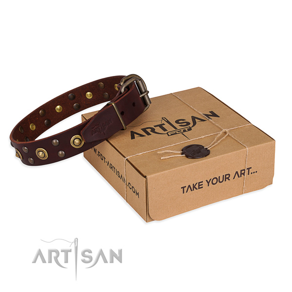 Rust-proof hardware on full grain genuine leather collar for your stylish dog