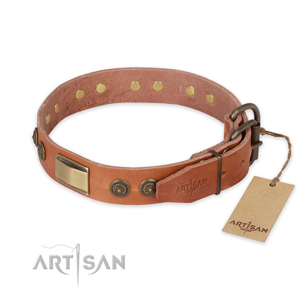 Corrosion proof fittings on full grain genuine leather collar for basic training your pet