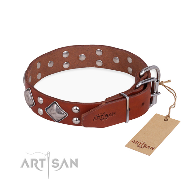 Full grain natural leather dog collar with exquisite rust-proof adornments