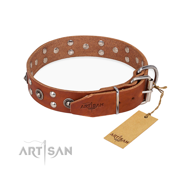 Strong fittings on full grain natural leather collar for your stylish canine