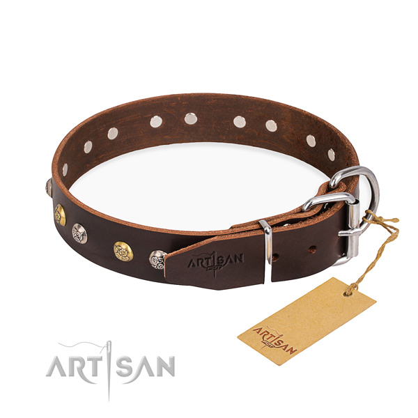 Soft full grain natural leather dog collar made for fancy walking