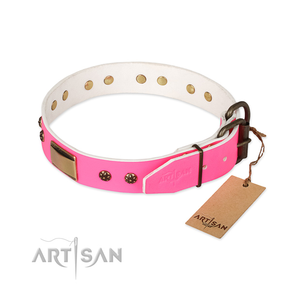 Rust resistant hardware on full grain genuine leather dog collar for your pet