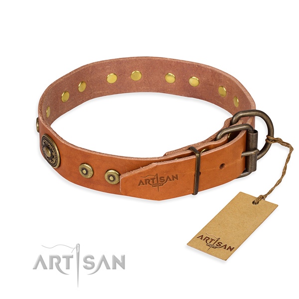 Full grain genuine leather dog collar made of best quality material with durable adornments