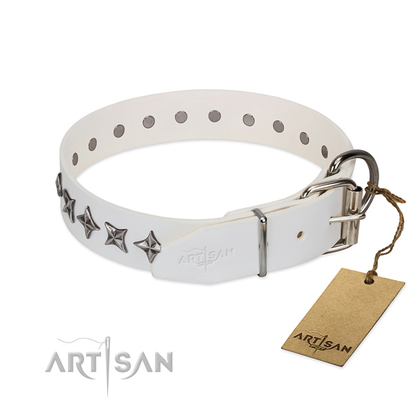 Easy wearing embellished dog collar of durable full grain leather
