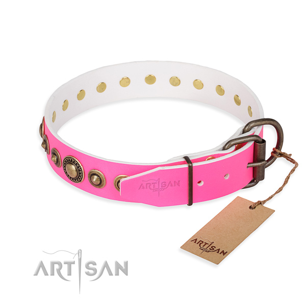 Top notch genuine leather dog collar handcrafted for stylish walking