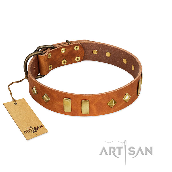 Handy use best quality natural leather dog collar with embellishments