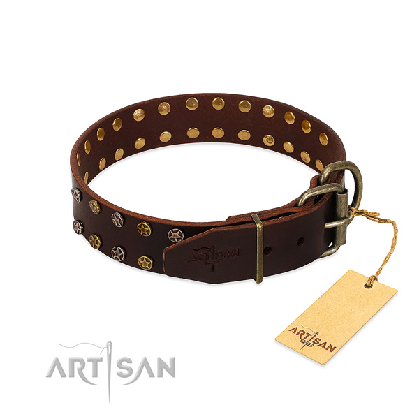 Daily walking full grain genuine leather dog collar with exquisite decorations
