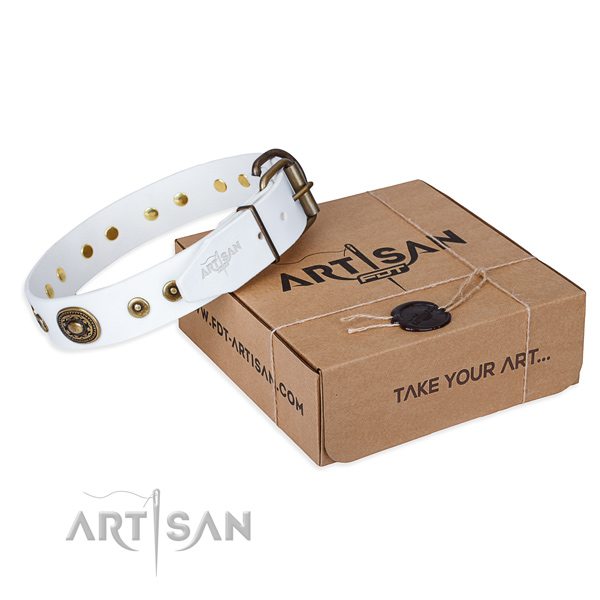 Full grain genuine leather dog collar made of reliable material with strong D-ring