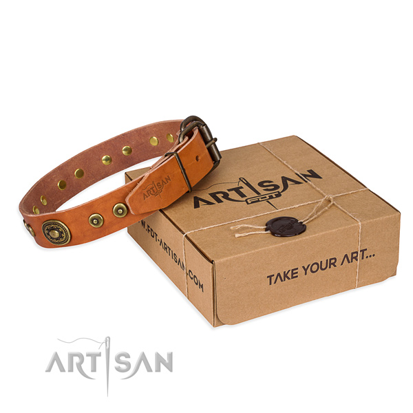 Full grain natural leather dog collar made of best quality material with corrosion resistant hardware