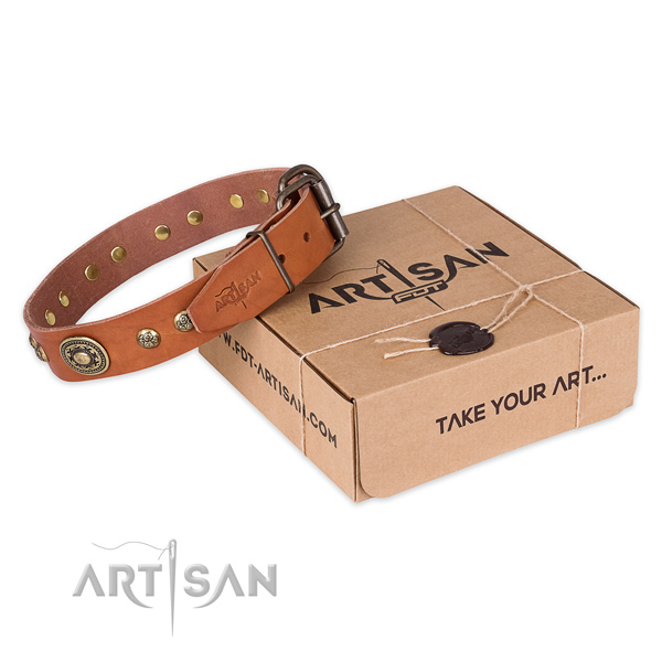 Durable hardware on full grain genuine leather dog collar for fancy walking